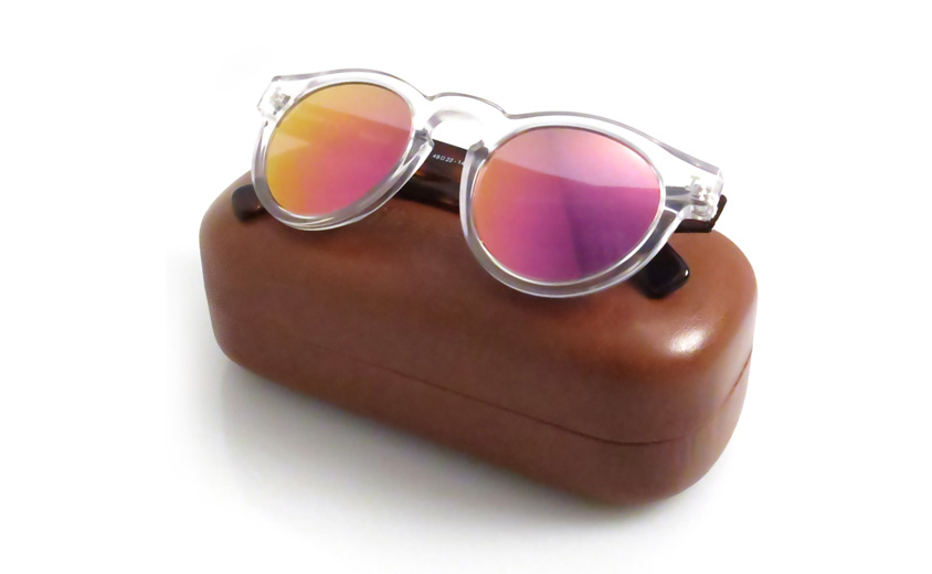 Leonard Clear Havana with Pink Mirrored Lenses