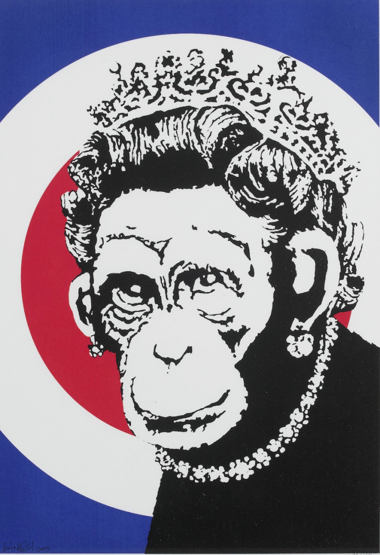banksy-monkey-queen-2003
