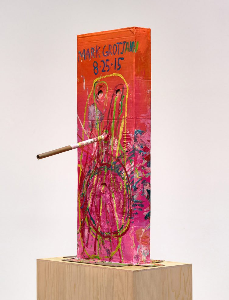 Mark Grotjahn Untitled (Pink Cosco I Mask M40.a), 2015 Painted bronze 59 1/2 x 33 1/4 x 36 1/2 inches 151.1 x 84.5 x 92.7 cm