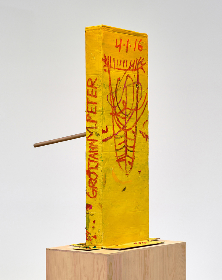 MARK GROTJAHN Untitled (Yellow Cosco VII Mask M40.o), 2016 Painted bronze 59 1/2 x 33 1/4 x 36 1/2 inches 151.1 x 84.5 x 92.7 cm