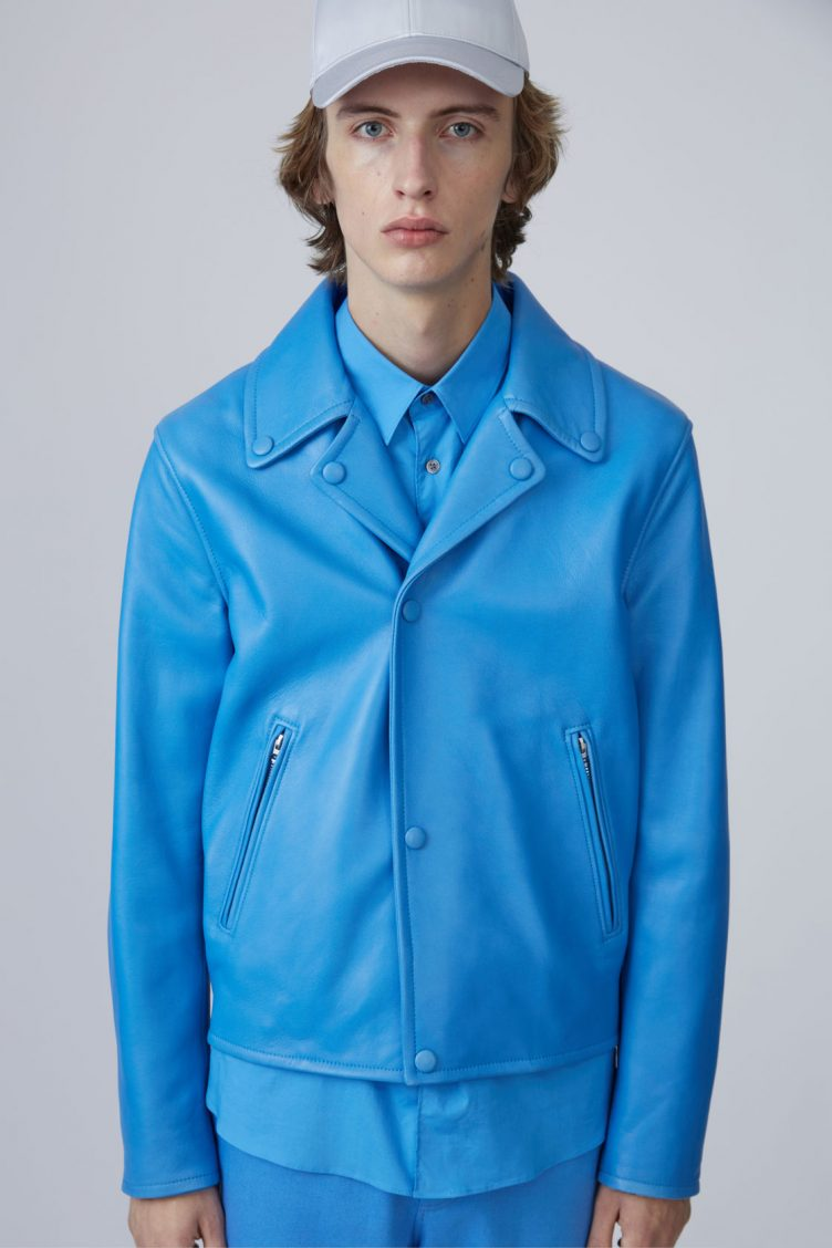 Acne Studios Awe sky blue is a '50s inspired biker jacket in bonded leather 03