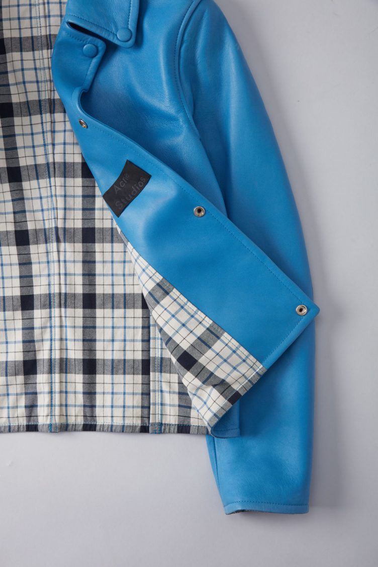 Acne Studios Awe sky blue is a '50s inspired biker jacket in bonded leather 04