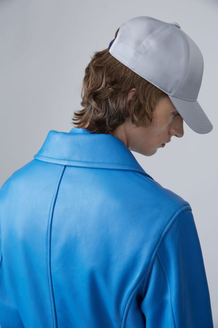 Acne Studios Awe sky blue is a '50s inspired biker jacket in bonded leather 05