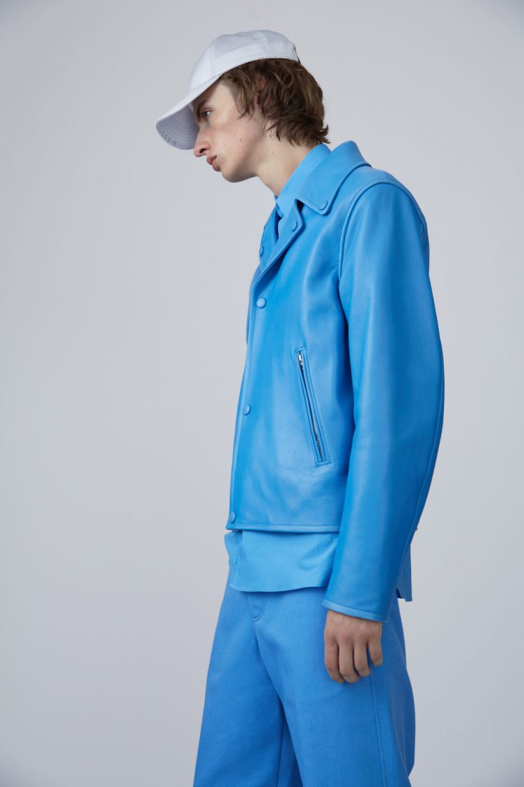 Acne Studios Awe sky blue is a '50s inspired biker jacket in bonded leather 06