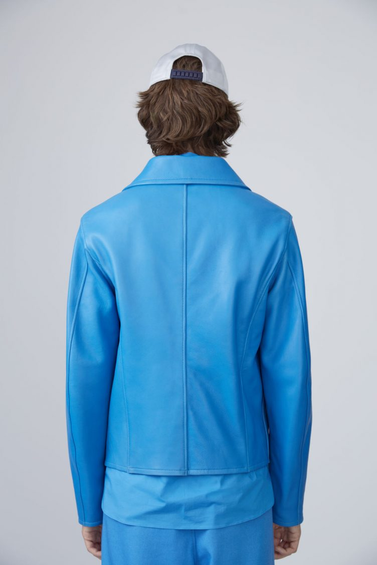 Acne Studios Awe sky blue is a '50s inspired biker jacket in bonded leather 07