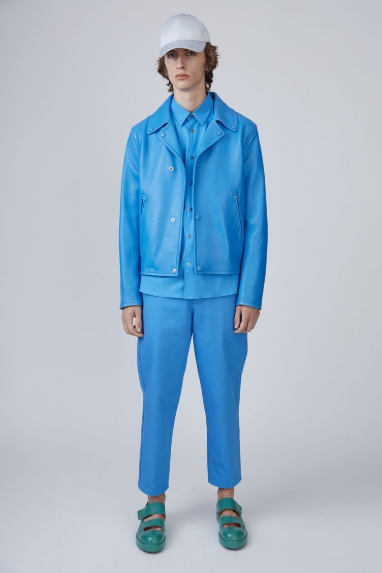 Acne Studios Awe sky blue is a '50s inspired biker jacket in bonded leather 02