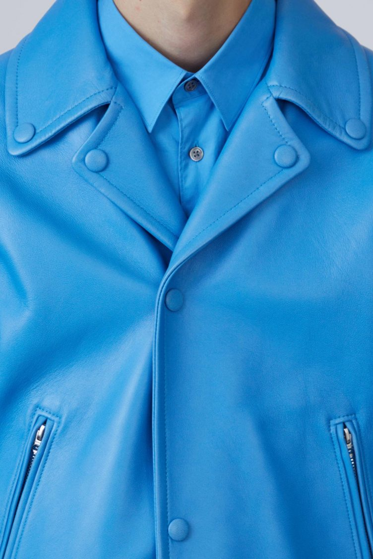 Acne Studios Awe sky blue is a '50s inspired biker jacket in bonded leather 01