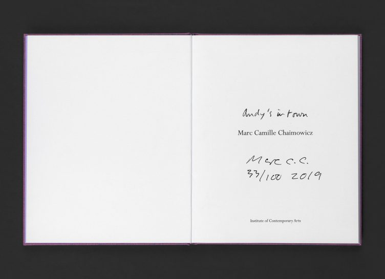 Marc Camille Chaimowicz, Andy's in Town (signed limited edition publication), 2019 Spread 01