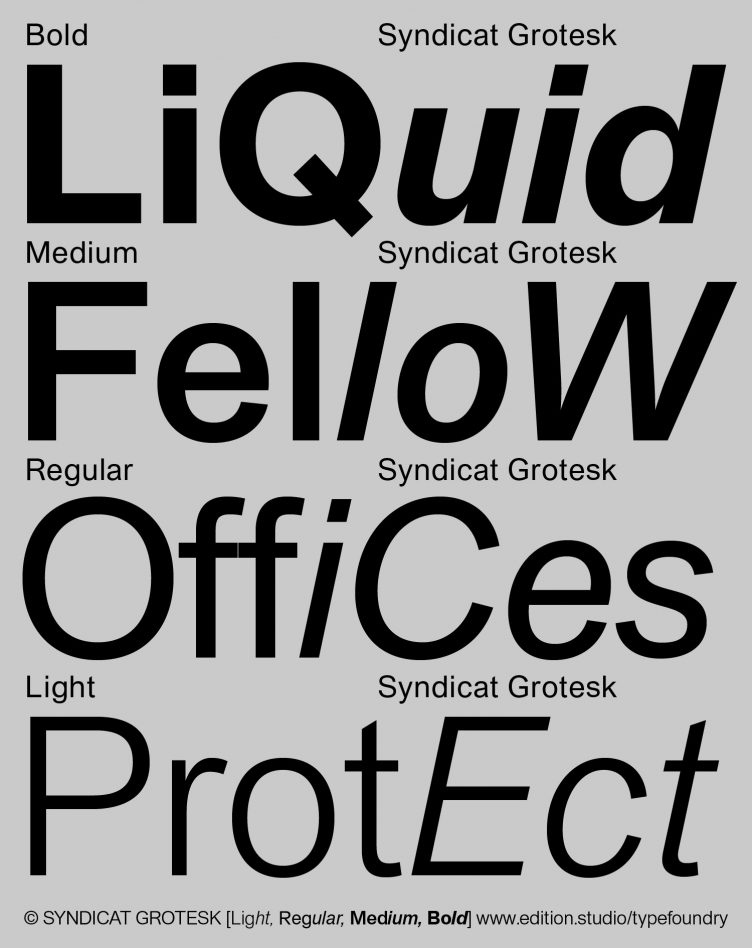 Syndicat Grotesk Typeface Poster