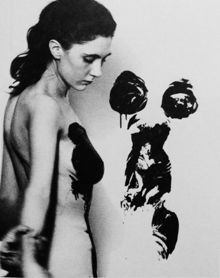 Yves Klein realizing Anthropometries with Michèle 002