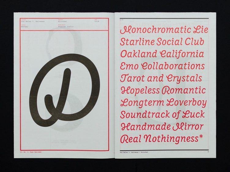 O1 Magazine, No. 03: Type Specimen 005
