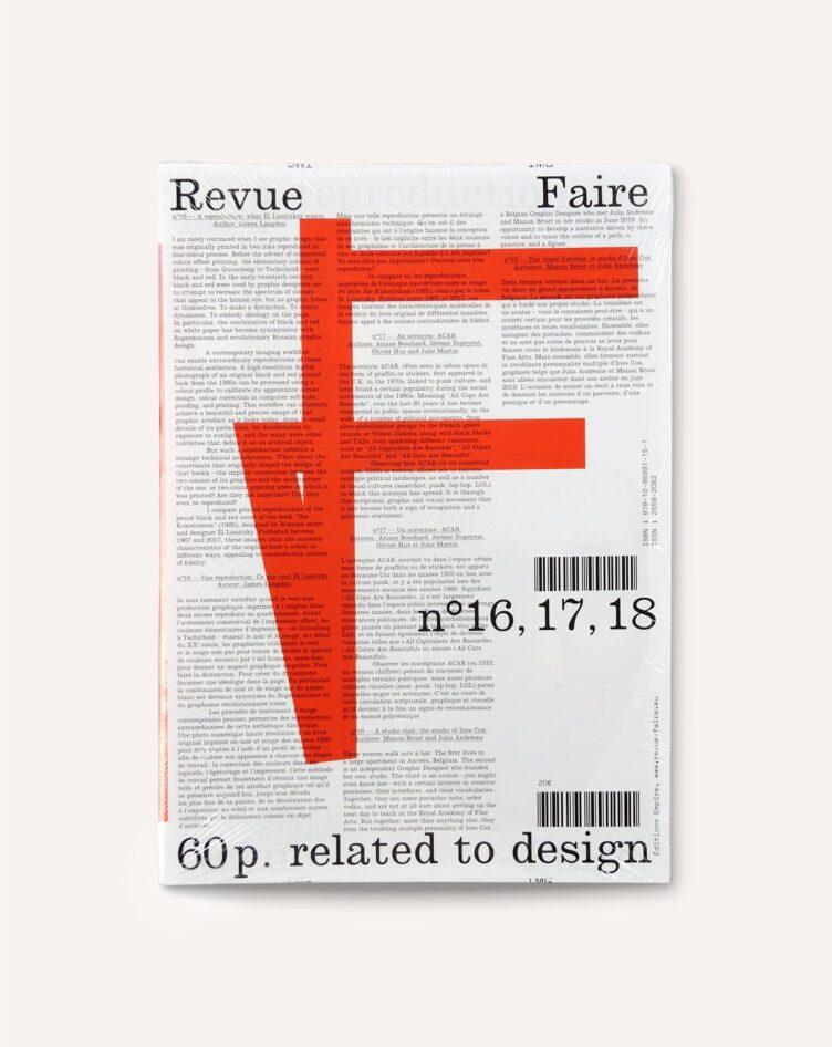 Revue Faire no. 16, 17, 18 Cover