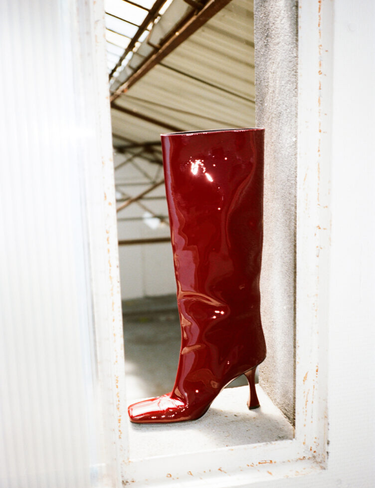 Proenza Schouler Patent High Knee Boots Bordeaux