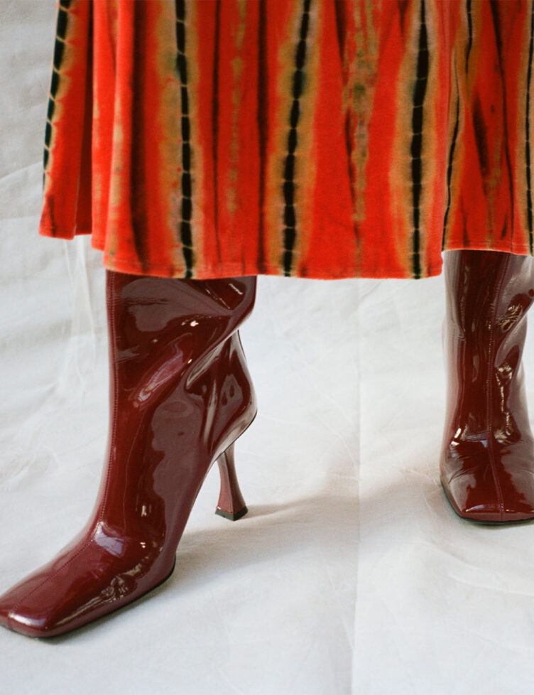 Proenza Schouler Patent High Knee Boots Color Bordeaux