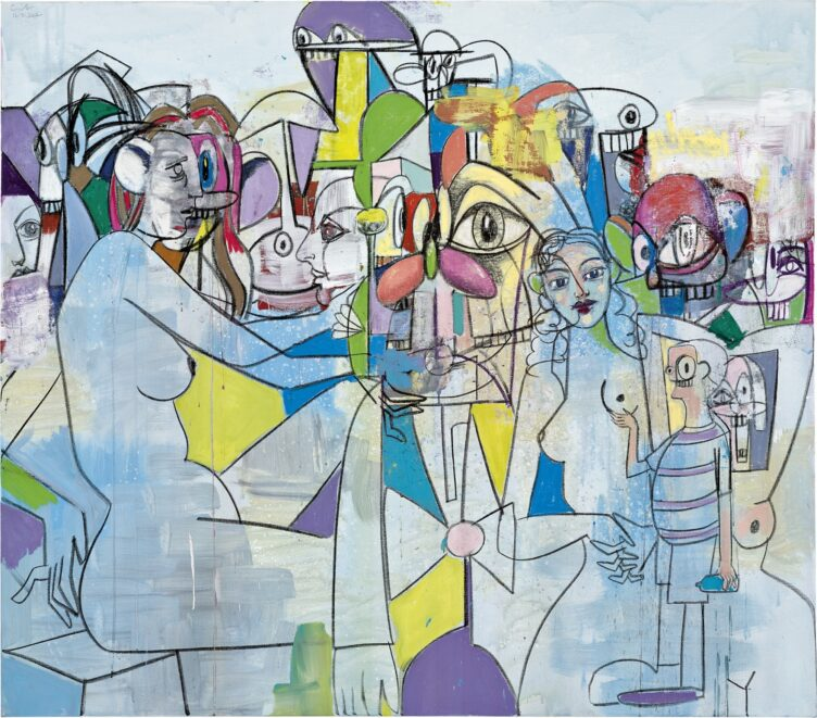 George Condo, Purple and Yellow Abstraction, 2012