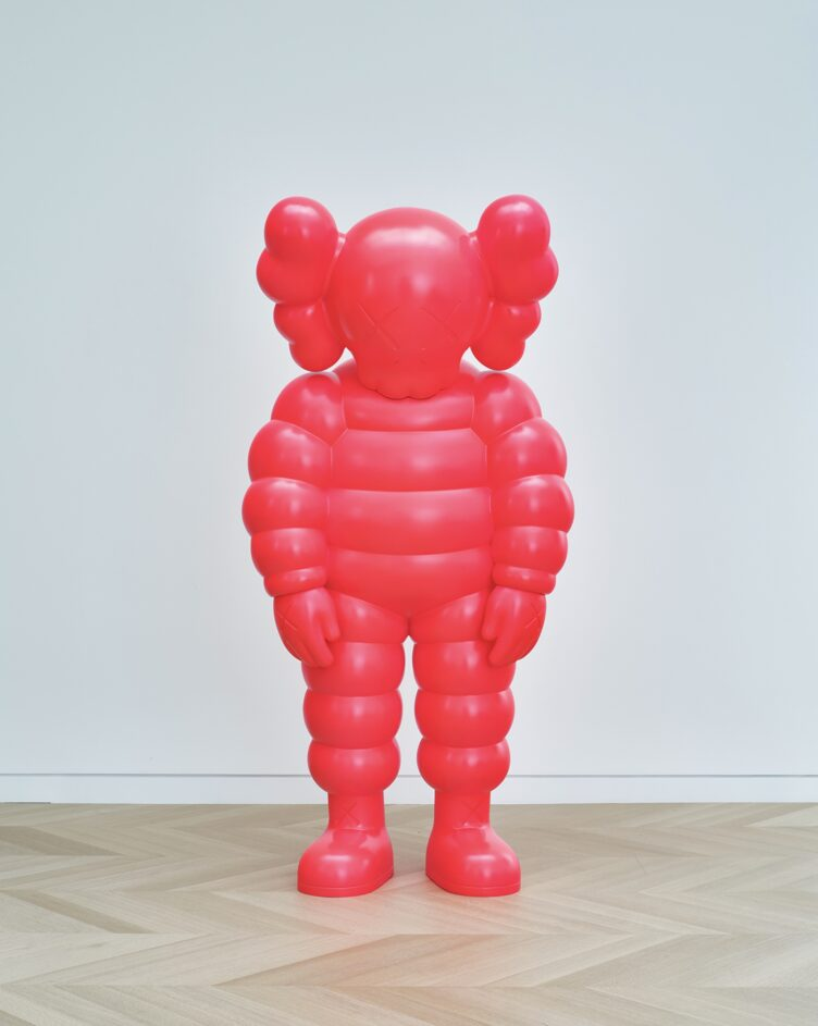 KAWS, WHAT PARTY, 2020. Bronze, paint, 90 × 43 5/16 × 35 3/8 in. (228.6 × 110 × 89.9 cm)
